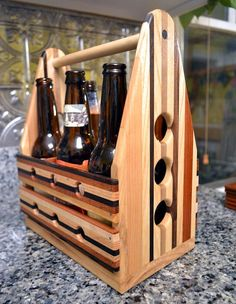 Wooden Beer 6 Pack  - The PaceMaker - Beer Carrier Flight Paddle Sampler - Perfect for Wedding Party