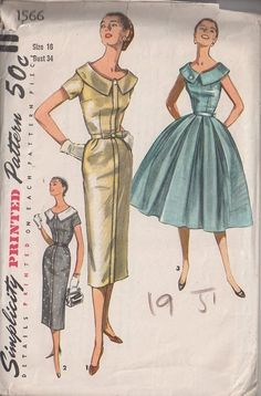 MOMSPatterns Vintage Sewing Patterns - Simplicity 1566 Vintage 50's Sewing Pattern GORGEOUS Lucy Era Slim Sheath or Full Belled Pleated Skirt Cocktail Party or Day Dress, 2 Skirts