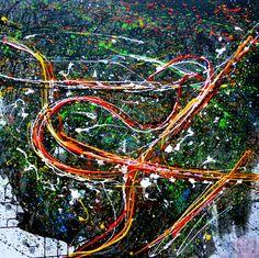 Night Roads large acrylic painting 100x100 by kachinaexpressionism