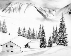 """I show you in this article how to draw a mountain landscape under the snow. The drawing of fir trees under the snow is the only small """"difficulty"""". rnrnSource by City Painting, Gouache Painting, Painting & Drawing, Easy Drawings, Pencil Drawings, Perspective Drawing Lessons, Winter Illustration, Paper Drawing, Fir Tree"""