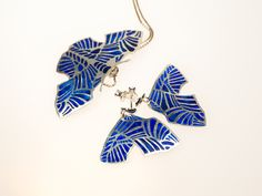 Silver set of earrings and necklace. Plique-a-jour glass enamel and silver.