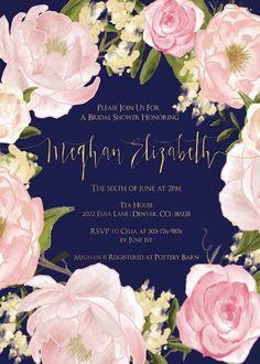 Wedding invitations gold blush bridal shower for 2019 Navy Wedding Flowers, Blush Flowers, Wedding Colors, Wedding Dresses, Navy Bridal Shower, Blush Bridal Showers, Blush Wedding Invitations, Bridal Shower Invitations, Invites