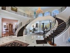 A new interior design collection of 18 Palatial Mediterranean Staircase Designs That Redefine Luxury which will make your jaw hit the floor. Luxury Staircase, Interior Staircase, Mansion Interior, Modern Staircase, Staircase Design, Double Staircase, Staircase Ideas, Hallway Ideas, Modern Home Design