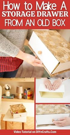 Turn an old box into a gorgeous decorative drawer! This upcycled box drawer for storage is an ideal addition to any shelf or table! This easy DIY storage drawer is a great addition to any room. #boxdrawer #upcycledbox #cardboard #homedecor #easycrafts