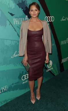 Chrissy Teigen's Outfit The most vital part of copying Chrissy Teigen's stunning look is finding a dress that fits you as great as hers. Winterize with a classic blazer or jacket.