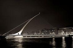 Samuel Beckett Bridge, designed by Santiago Calatrava, Dublin, Ireland.  Intended to resemble a national symbol of Ireland, The Harp