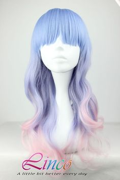 55cm-Long-Multi-Color-Beautiful-lolita-wig-Anime-Wig curly mix color wig LW084 on Etsy, $19.39