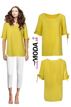 Krásna dámska blúzka v trendy žltom odtieni vo veľkostiach i pre moletky. Bell Sleeves, Bell Sleeve Top, Trendy, Jar, Women, Fashion, Moda, Fashion Styles, Fashion Illustrations