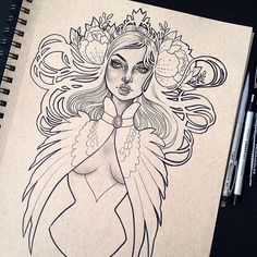 """1,816 Likes, 25 Comments - Gwen D'Arcy  (@graphicartery) on Instagram: """"""""Harpy""""  #wip"""""""