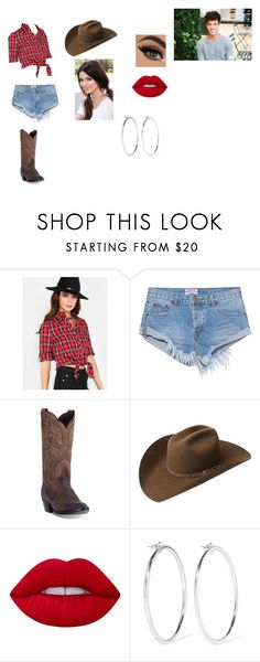 """""""Horseback Riding Date with Cameron Dallas"""" by giacozz ❤ liked on Polyvore featuring OneTeaspoon, Dan Post, Bailey Western, Lime Crime and Jennifer Fisher"""