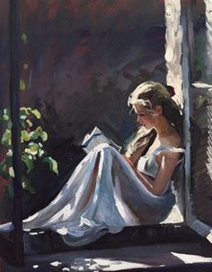 """Serenity"" - painting of a woman reading by Sherree Valentine Daines. ""Reading a book is like re-writing it yourself. You bring to a novel, anything you read, all your experience of the world. You bring your history and you read it in your own terms."" — Angela Carter"