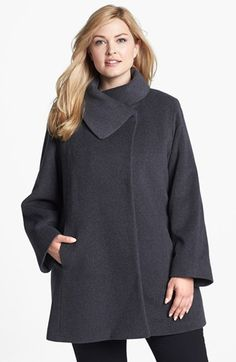 Cinzia Rocca Due Portrait Collar Wool & Angora Blend Walking Coat (Plus Size) available at #Nordstrom