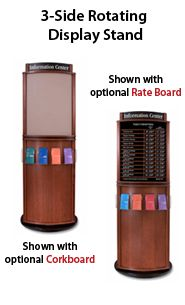 Wood Brochure Stand 3-Sided Rotating with Options