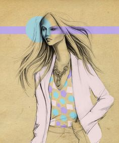 Graphite and digital color by Lara Wolf #fashion #illustration
