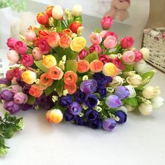 0.62$  Watch now - Lovely pet hot selling 15 Heads Unusual Artificial Rose Silk Fake Flower Leaf Home Decor Bridal Bouquet Jun16   #shopstyle