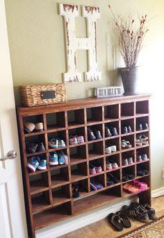 Build a Vintage Mail Sorter Shoe Cubby how to build a vintage style mail sorter to organize shoes Remodelaholic Cubby Shelves, Cubbies, Shelves For Shoes, Build Shelves, Closet Shelves, Shoe Storage Design, Diy Shoe Rack, Shoe Racks, Homemade Shoe Rack