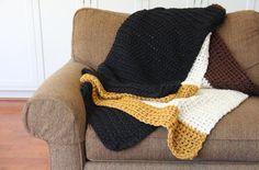 Large Chunky Colorblock Crochet Blanket by ThreadsandPrints