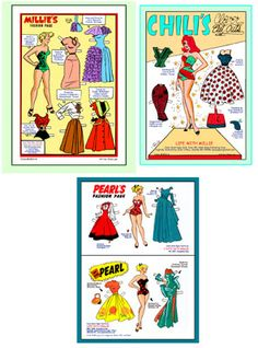 Chili, Milly and Pearl paper dolls -- part of Katy Keene comic series - Marvel Comics, Comic Book Paper, Comic Books, Millie The Model, Newspaper Paper, Marvel Series, Vintage Paper Dolls, Doll Parts, Marvel Comics, Doll Clothes