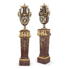 Immense pair of Second Empire vases and pedestals | By Barbedienne, Ferdinand (French, 1810-1892), Popelin, Claudius (French, 1825-1892), Sévin, Louis-Constant (French, 1821-1888) | French | c. 1867. More details online at mayfairgallery.com