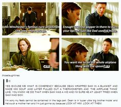 Dean is in super ultra big brother mode! Ohhh the feels.....