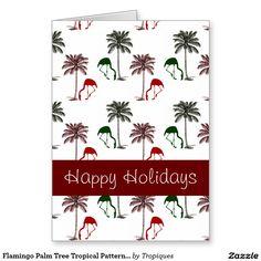 Flamingo Palm Tree Tropical Pattern Happy Holidays Greeting Card