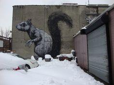 Terrifying street art in Brooklyn, NYC. Brooklyn New York, New York City, Brooklyn Neighborhoods, Squirrel Art, Art Party, Land Art, The Neighbourhood, Graffiti, Lion Sculpture