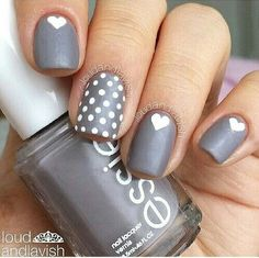I would prefer polka dots on all nails but the ring finger so there is only one heart.