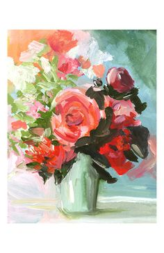 Large Abstract Floral -Peach, aqua, rose - Abstract painting -print of original