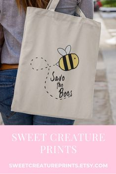 Save the Bees. This cute bee tote bag is perfect as gift for anyone who loves bees. Click through to view more cute styles. #bees #savethebees #totebag