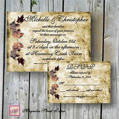 Digital DIY Fall Leaves Wedding Invitations, Custom Printable, Includes RSVP, Autumn Wedding, Fall Wedding, vintage wedding, rustic wedding
