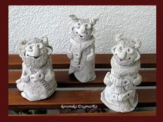 čerti před výpalem Troll, Bookends, Garden Sculpture, Ceramics, Outdoor Decor, Devil, Leprechaun, Ceramica, Pottery