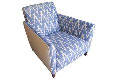 Blue Ikat & White Linen Club Chair
