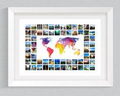 Watercolour World Map & Photo Collage A0/A1/B1