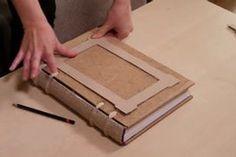 Picture of Making Embossed Frames on the Cover Handmade Journals, Handmade Books, Handmade Rugs, Handmade Crafts, Envelope Book, Bookbinding Tutorial, Bookbinding Ideas, Cool Journals, Magic Book