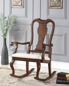 Sheim Beige Cherry Fabric Wood Rocking Chair