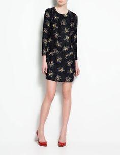 Zara printed floral hipster dress