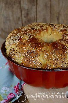 Salty cake with cheese - Omnia Interconexa - - anton french 431 - macedonian food Milk Bread Recipe, Bread Dough Recipe, Albanian Recipes, Croatian Recipes, Bakery Recipes, Cooking Recipes, Bread Recipes, Festive Bread, Kiflice Recipe