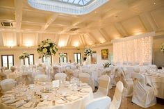 Gorgeous room decor and stunning backdrop for the wedding of Lisa and Jon