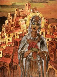 Madonna of the Roses, Svetoslav Roerich (1904-1993), 1923.