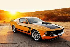 авто, ford, mustang, 1969, ретро, форд, оранжевый, суперкар, мустанг, солнце, рассвет, природа