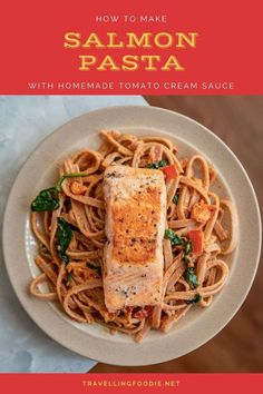 Love creamy pasta? Get a taste of Italy with this creamy salmon pasta with sun-dried tomato pesto sauce! Learn how to make salmon tagliatelle (or your choice of pasta noodles) on homemade pasta sauce with cream in 30 minutes. Check out this easy pasta recipe on Travelling Foodie. #travellingfoodie #recipes #easyrecipes #pastarecipes #creamypasta Salmon Pasta Recipes, Creamy Salmon Pasta, Creamy Tomato Sauce, Tomato Cream Sauces, Tomato Pesto, Easy Pasta Recipes, Pasta Ideas, Pesto Pasta, Dinner Recipes