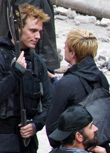 Sam Claflin and Josh Hutcherson on Mockingjay Set