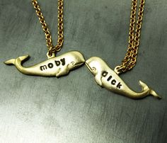 "Personalized Whale Necklaces  I repinned this because, in theory, someone lacking creativity is wearing a ""dick"" necklace. I'm juss sayin..."