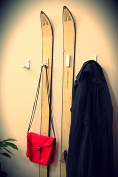 HANGERS: old skis and bjärnum (ikea's folding hook).  Graet idea! I love my home!