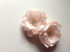 Blush Pink Satin Flower Shoe clips with rhinestone by amuandpri