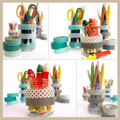 baby food jars and masking tape
