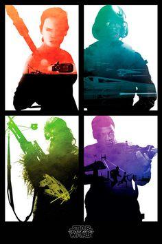 Póster Star Wars: El Despertar de la Fuerza. Episodio VII Rebel Póster con la imagen de los personajes principales basado en la película Star Wars: El despertar de la fuerza.