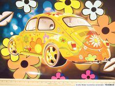 #Poster #Bild A4 #Vintage Druck #VW Käfer #kunterbunt #regenbogenfarn