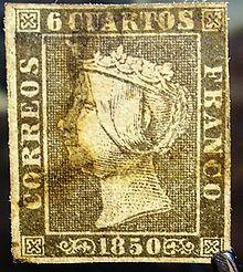 Primer sello de España de la segunda plancha (la T y la O de la palabra CUARTOS están ligeramente unidas)
