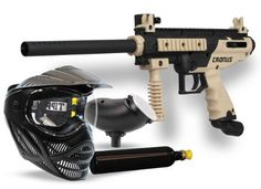 TIPPMANN Cronus PowerPack Paintball Gun  Includes 9oz CO2 tank, Valor Goggle & 200 round loader  High-impact composite body  Internal gas line  Vertical Grip  Front and rear fixed sights